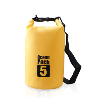 Harga 5L Ocean Pack Waterproof Storage Dry Bag Pouch for Boating Kayaking Hiking surfing(Yellow)