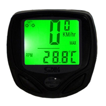 Harga Jo.In Bicycle Bike Cycle Wireless LCD Digital Computer Speedometer Odometer Backlight (Green)