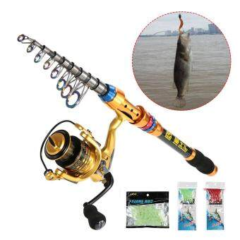Lixada Portable Lure Rod Set Spinning Rod and Fishing Reel Combos Full Kit Telescopic Fishing Rod