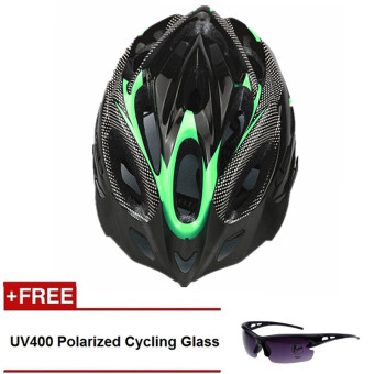 Harga QNIGLO Adjustable Mountain Bicycle Road Bike Cycling Helmet withVisor Green