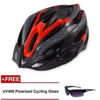 Harga QNIGLO Adjustable Mountain Bicycle Road Bike Cycling Helmet withVisor Red