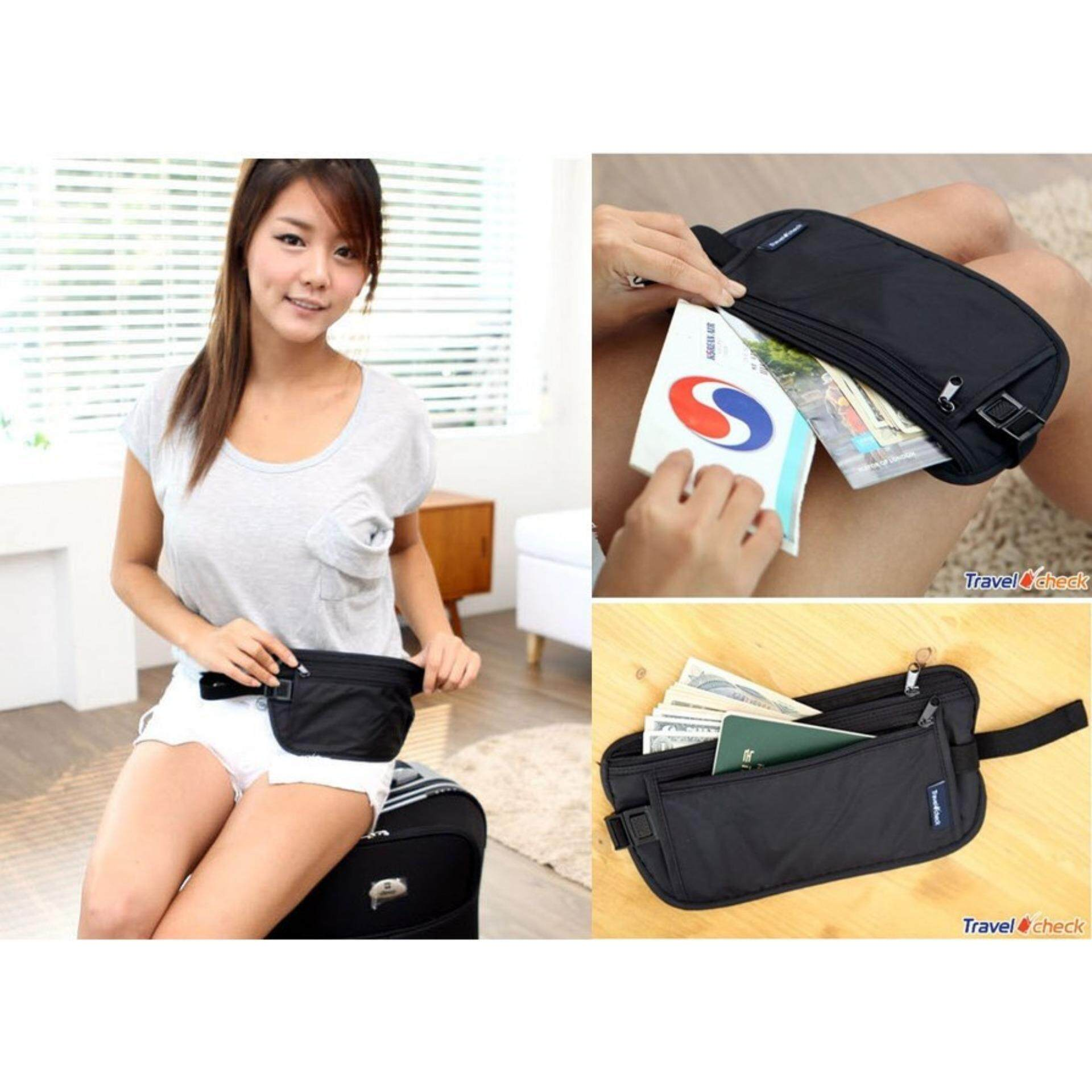 Travel Sport Pouch Bag Hidden Compact Security Money Waist Running Belt Holder Pocket (Black)