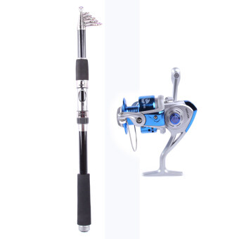 Telescopic Fishing Rod Fishing Pole Rods Saltwater Travel Spinning Fishing Poles 2.1M+Rocker Reel