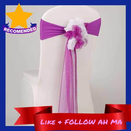 Best Selling Chair Sash Bow Elastic Chair Ribbon Back Tie Bands for Wedding Party Ceremony Banquet (Purple)