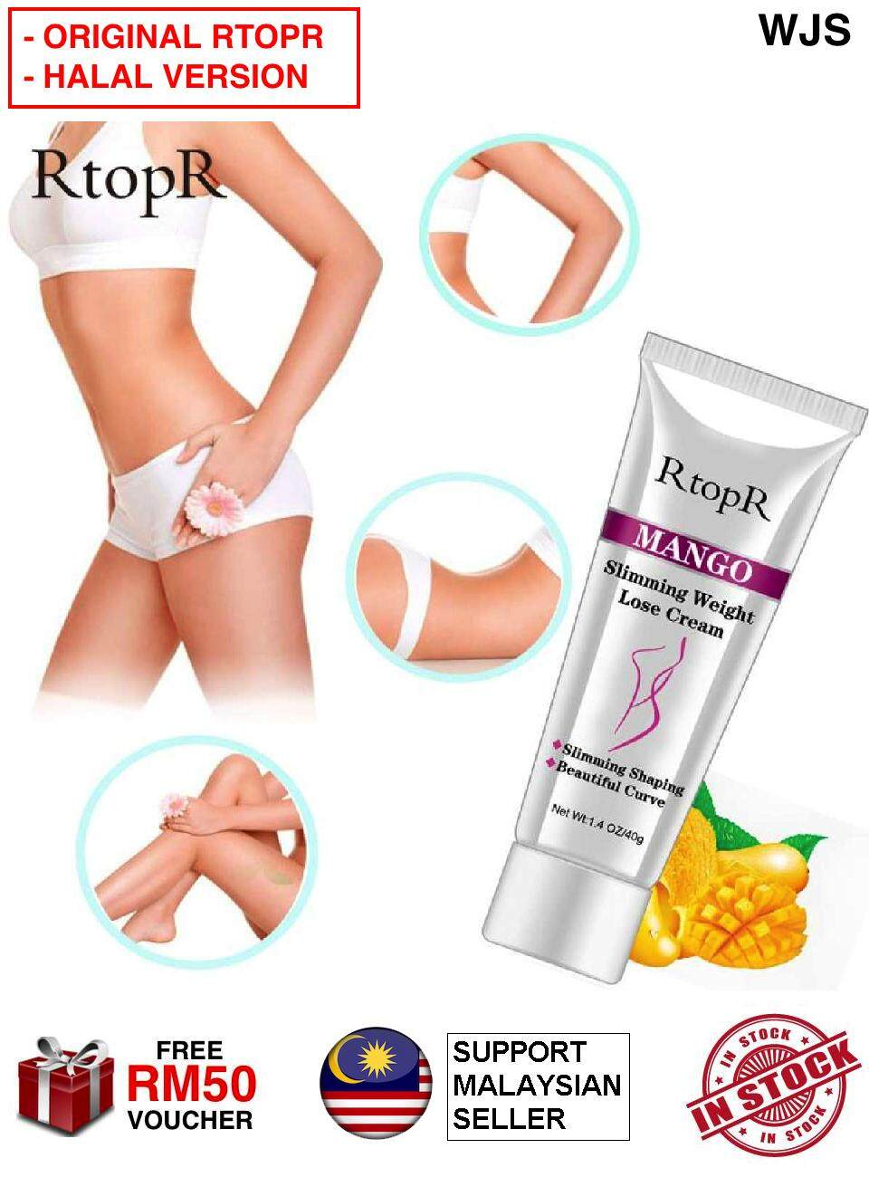 (HALAL VERSION) WJS RtopR Slimming Cream Anti Cellulite Fat Burner Cream Slimming Product Weight Loss Whitening Hot Body Cream Safety Moisturizer Thin Leg Arm Belly Waist Thigh Natural Pure Beauty 40g [FREE RM 50 VOUCHER]