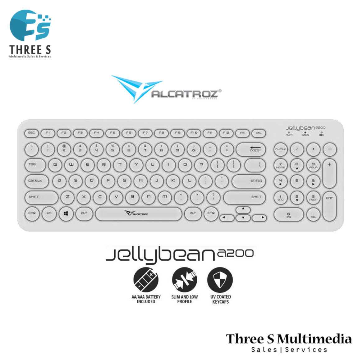Alcatroz Jelly Bean A200 Wireless Keyboard FREE SonicGear Blue Cube Combo