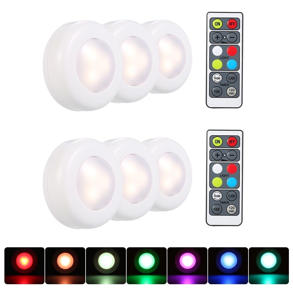 Ceiling Lights - RGB LED Under Cabinet Lamp Puck Light 3 Pack with Remote Control Brightness - 3 PIECE(s) / 6 PIECE(s)