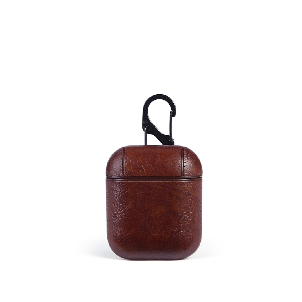 Phone Holder & Stand - For Apple AirPods Leather PU Earphones Charging Case Cover Skins Protective Bag - LIGHT BROWN / BROWN / RED / BLACK