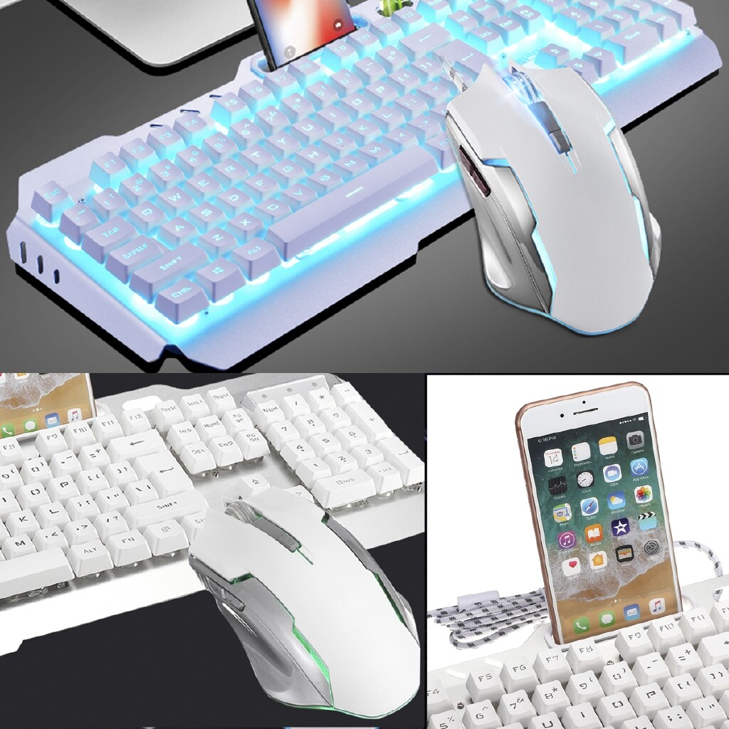 Keyboards - Backlit Mechanical Gaming Keyboard Wired USB Illuminated Ergonomic Mouse Pad SET - Computer Accessories