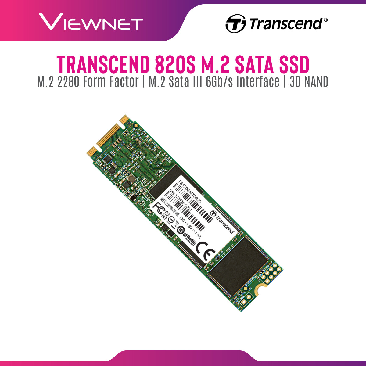 Transcend 820S (120GB/240GB/480GB/960GB) SATA III M.2 SSD best suited for Ultrabooks and thin, light notebooks