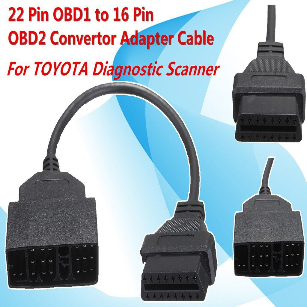 Engine Parts - 22 Pin OBD1 to 16 Pin OBD2 Convertor Adapter Cable For TOYOTA - Car Replacement