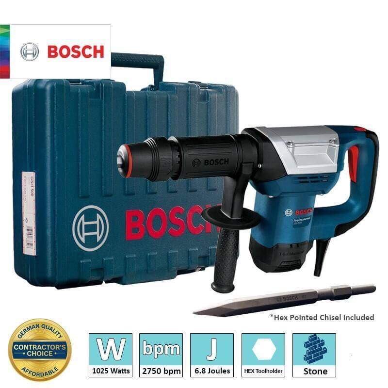 Bosch GSH500 Demolition Hammer with Hex Chisel Set