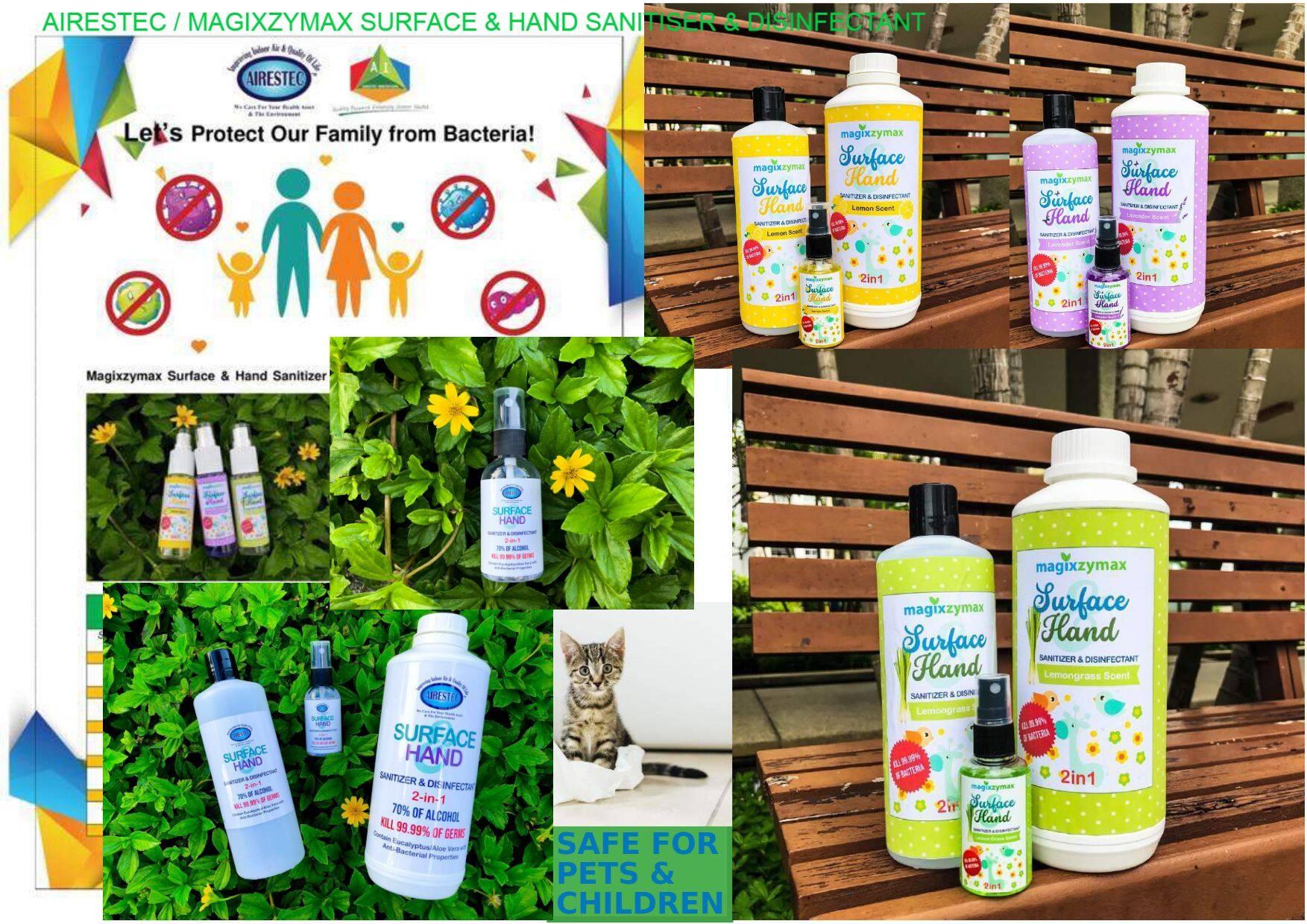 Airestec / Magixzymax Surface & Hand Sanitizer & Disinfectant #Eucalyptus #AloeVera #sanitiser #green #ecofriendly #eco #non-corrosive #neutral #child-friendly #pet-friendly #biodegradable #safe