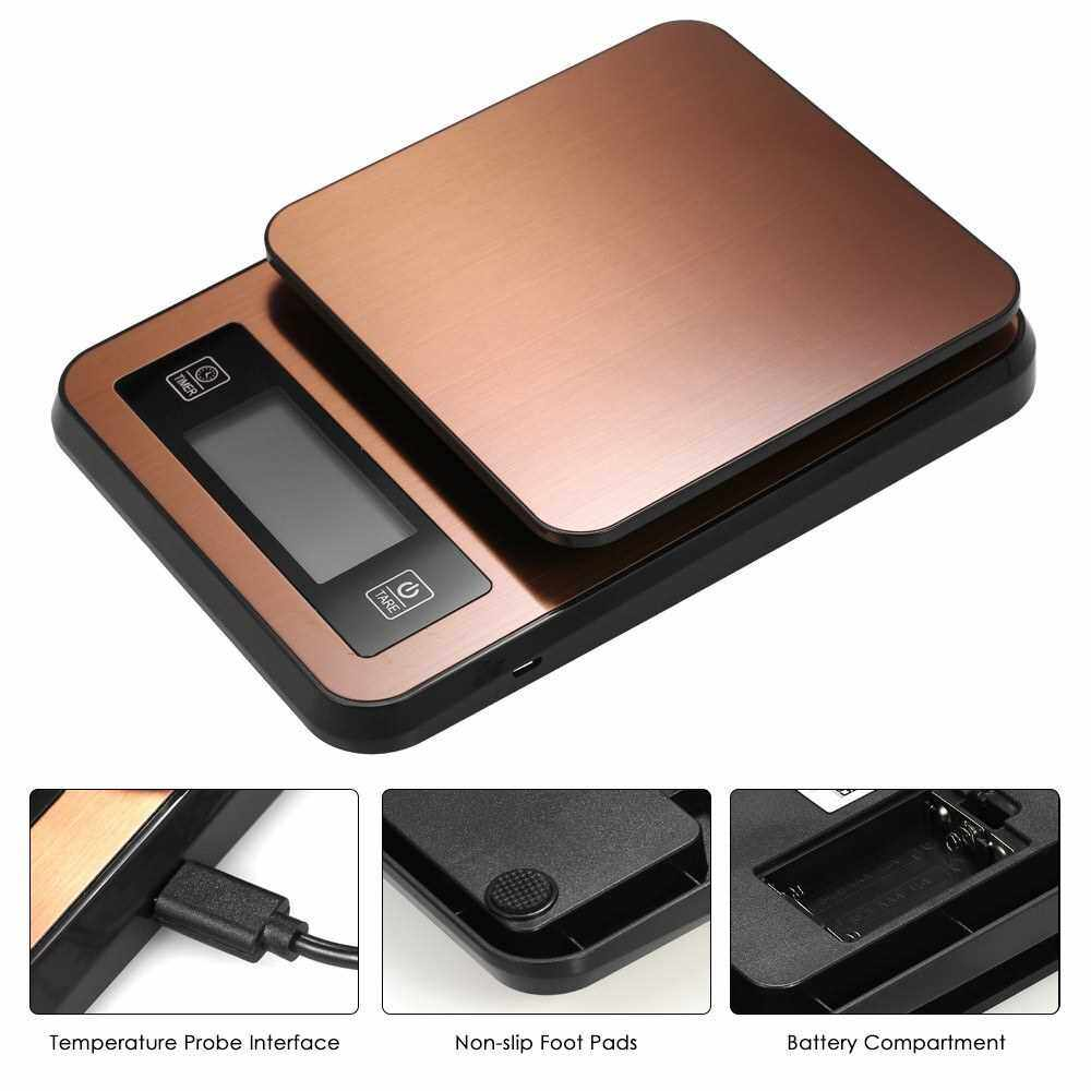 Digital Coffee Scale Multifunction Kitchen Food Scale with Timer Temperature Probe LCD Display Green Backlight 3000g/1g (Golden)