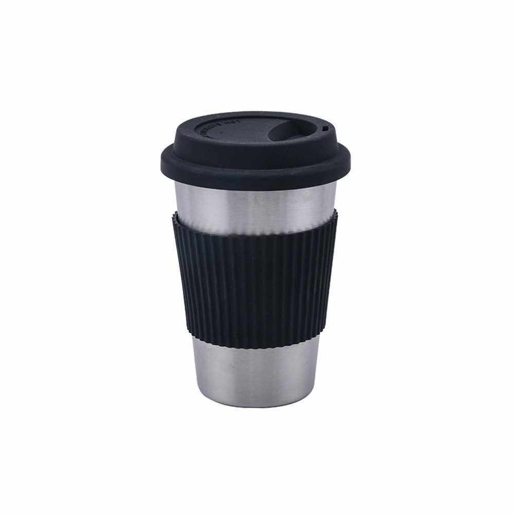 Stainless Steel Cup with Silicone Lids and Sleeves Unbreakable Drinking Eco-friendly Coffee Milk Juice Mugs Tumblers (Black)