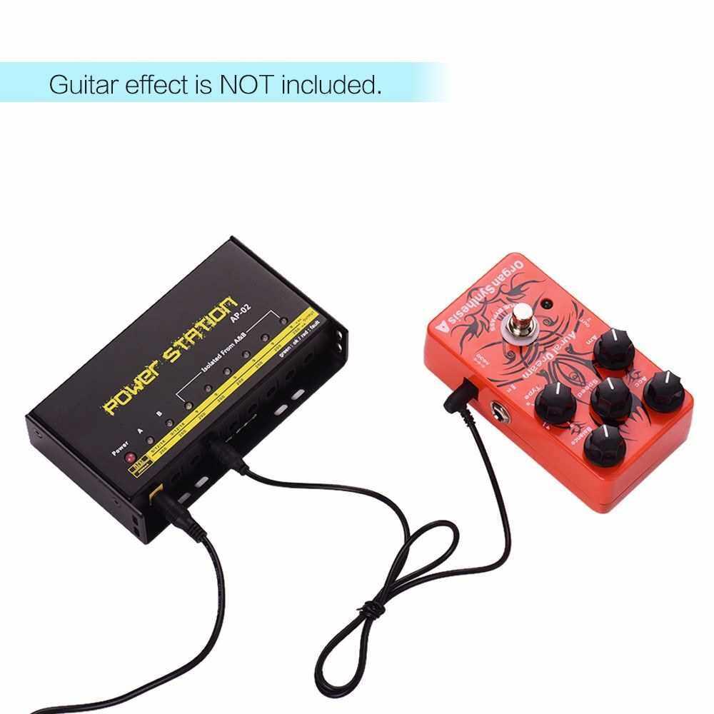 Guitar Pedal Power Supply 8 DC Outputs for 9V / 12V / 18V Effect Pedal Boards Power Station Box US Plug (Black)