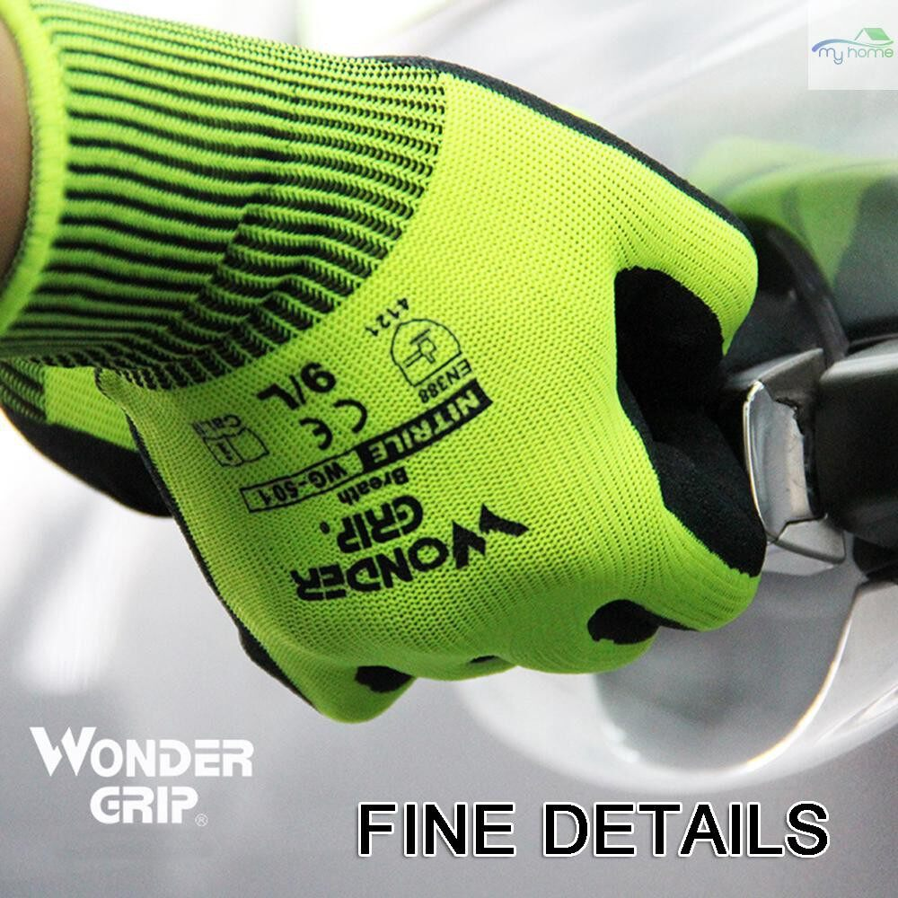 Protective Clothing & Equipment - Wonder Grip Universal Work Gloves with 13-Gauge Nylon Liner & Nitrile Foaming Coating - XL / L / M / S