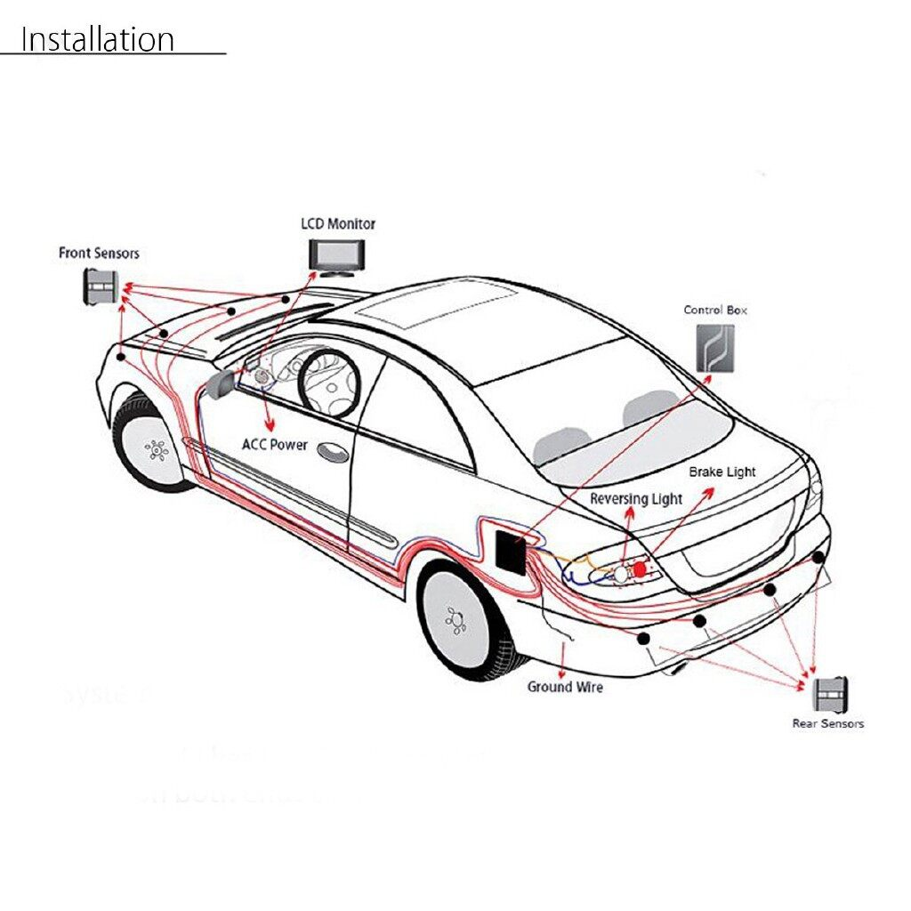 Car Lights - 8 Rear Front View Reverse Backup Radar System Kit LCD Car Parking - Replacement Parts