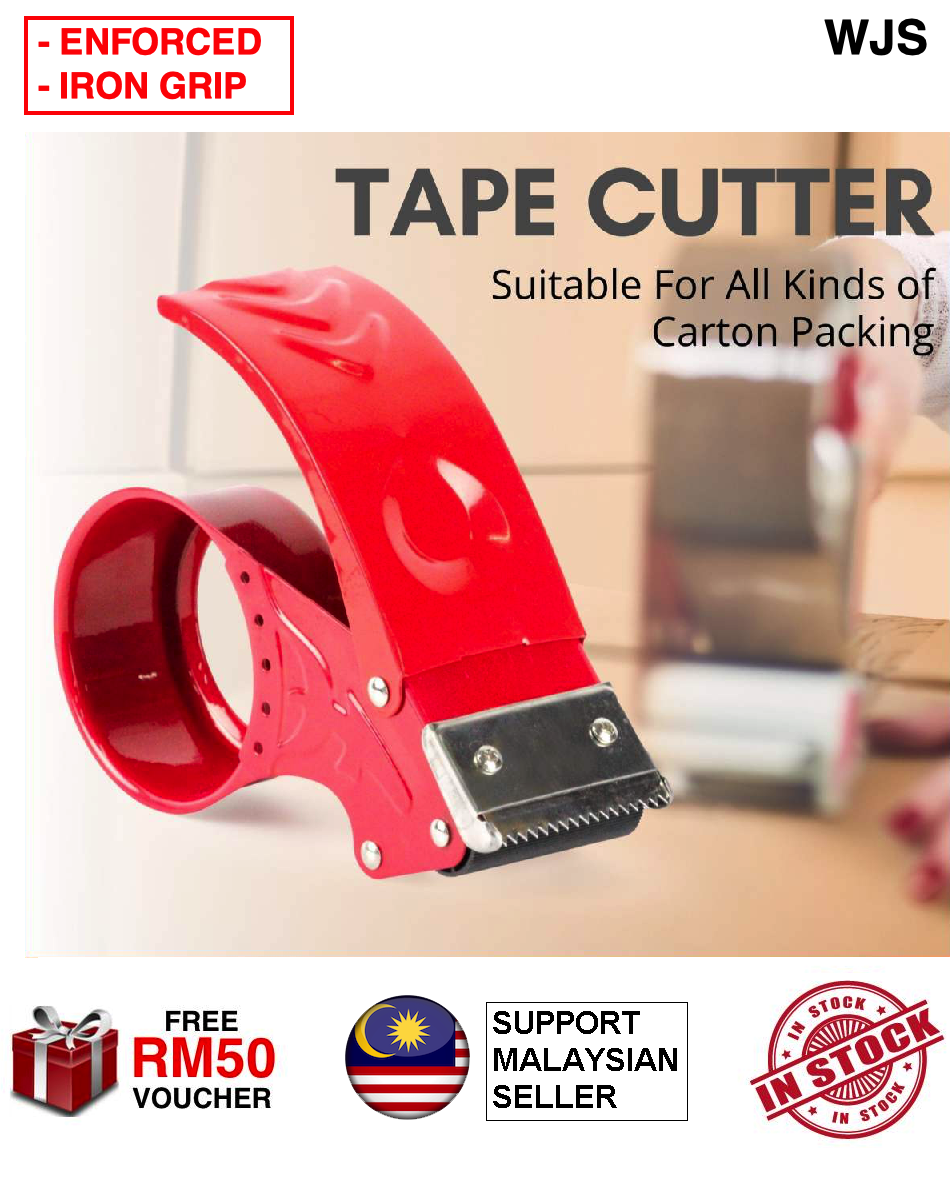 (EXTRA STRONG) WJS Enforced Metal Tape Dispenser Sealer Cutter 2 inch 2    OPP POPP Tape Carton Packing Hand Held Tape Dispensor OPP Tape Holder 48mm OPP Holder Pemegang Tape Office Stationery Stationary MULTIPLE SIZE [FREE RM 50 VOUCHER]