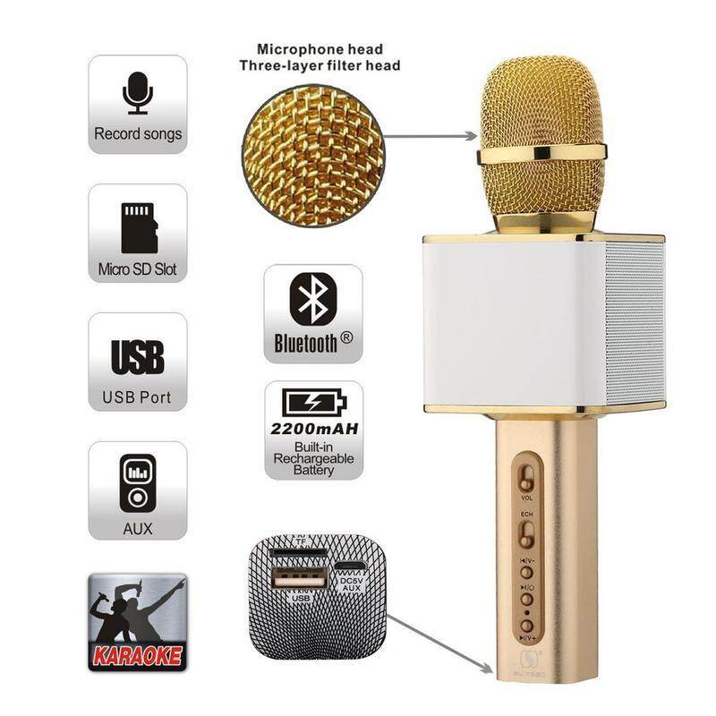 Magic Karaoke SD-08 Super Loud Microphone Karaoke Bluetooth USB SD Card BLACK