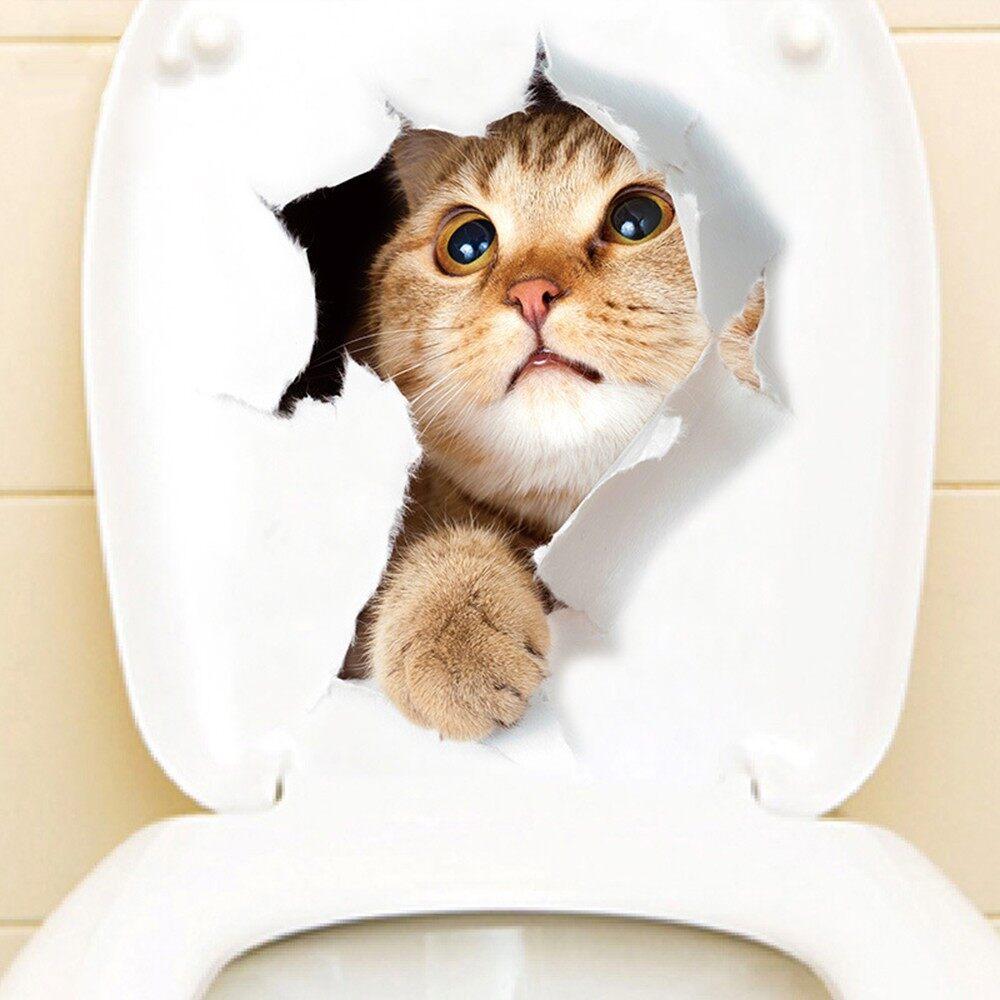 Home Decor - Super Cute Vivid 3D Cat Wall Sticker Toilet Clo SET Waterproof Removable Kid Room - 9 / 8 / 7 / 6 / 5 / 4 / 3 / 2 / 1