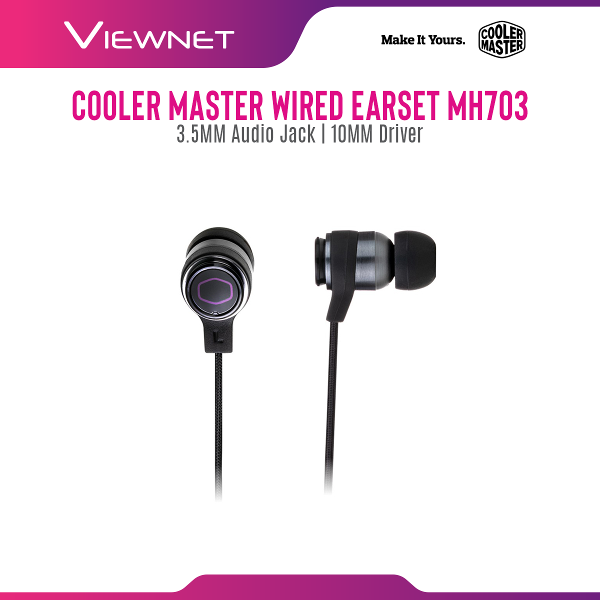 Cooler Master Earset MH703 with In-Line Control, 3.5mm Audio Jack, 10MM driver, Portable Package