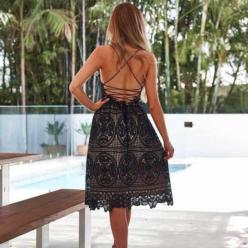 Best Selling Sexy Women Party Dress Deep V Neck Crisscross Backless Crochet Lace Sleeveless Halter Summer Midi Dress White/Black (Black)
