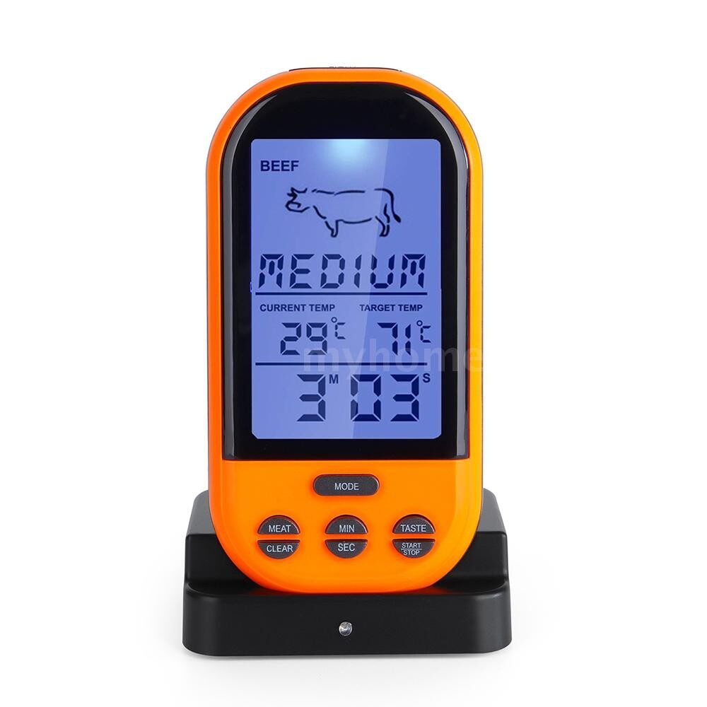 Small Kitchen Appliances - WIRELESS Remote Digital Thermometer Timer Cooking Meat Thermometer Probe Meat Steak BBQ Temperature - BLACK / BLACK & ORANGE