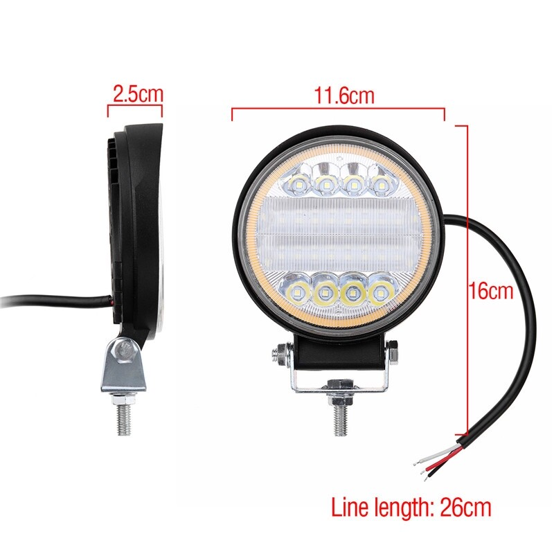 Car Lights - 126W LED Work Light Combo Beam Lamp DRL Amber Angel Eye Light For Offroad - Replacement Parts