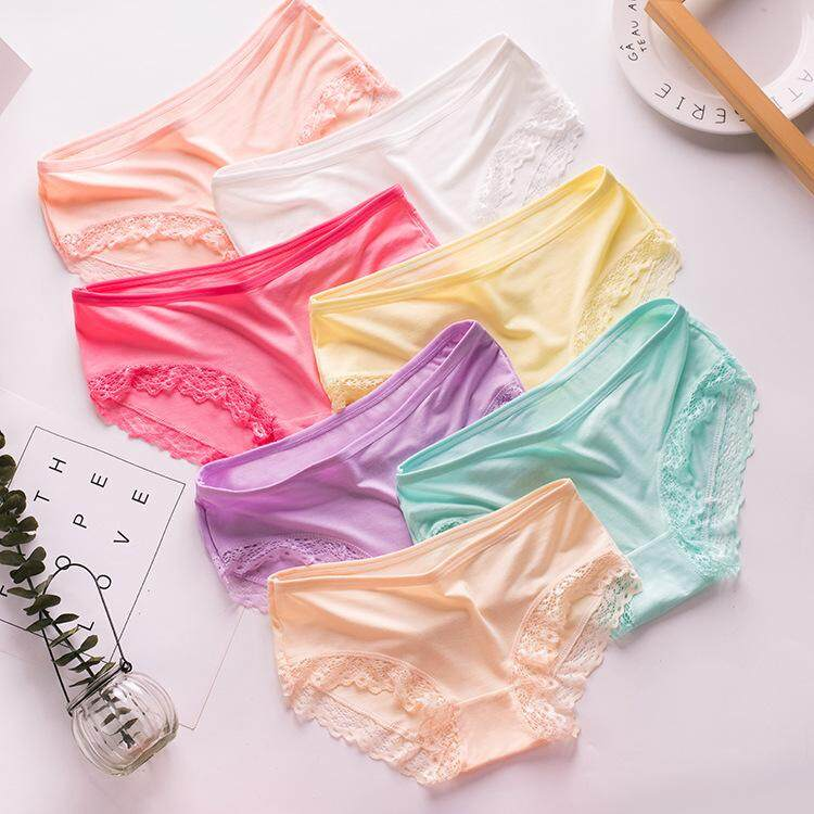 5 Pieces Super Stretchable Soft Bamboo Anti-odour Lace Women Ladies Panties Underwear