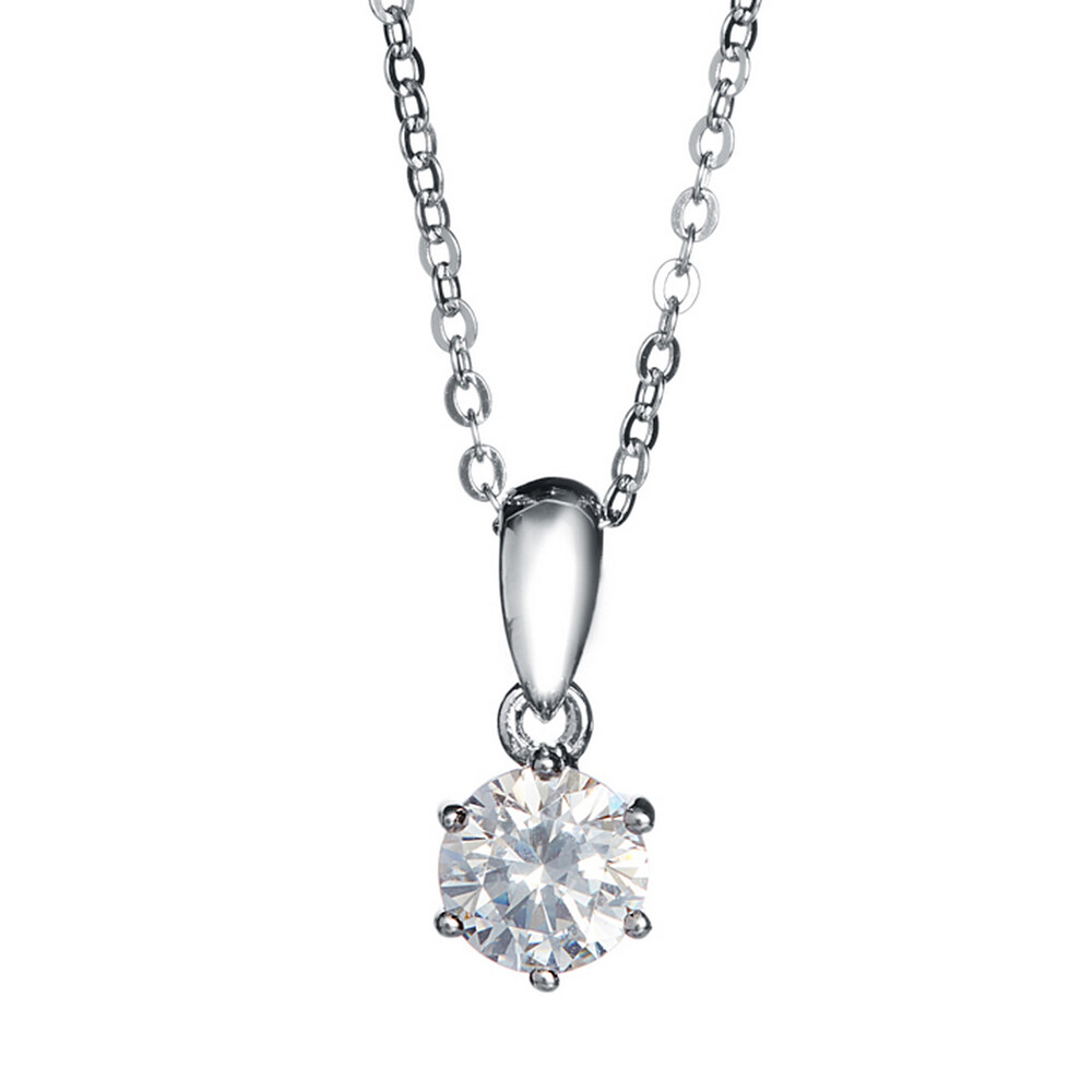 6 Prong Solitaire Pendant Necklace Made With Swarovski Zirconia