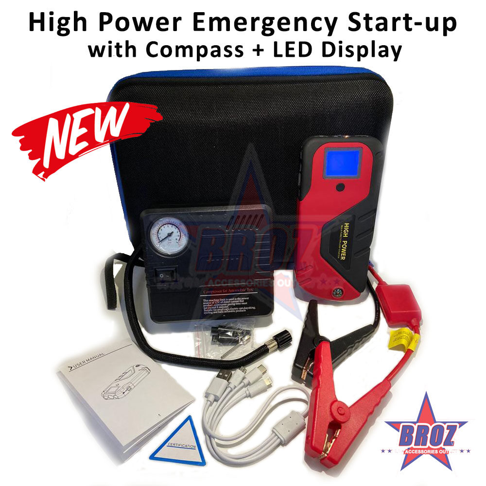 High Power Multi-functional Jump Starter 360A Peak Current Mini Portable Battery 12V Gasoline Diesel Cars Emergency Start Car Powerbank/Power Bank with Air Compressor Pump + COMPASS for Camping, Jungle Trekking Pengecas Bateri Kereta Automobile