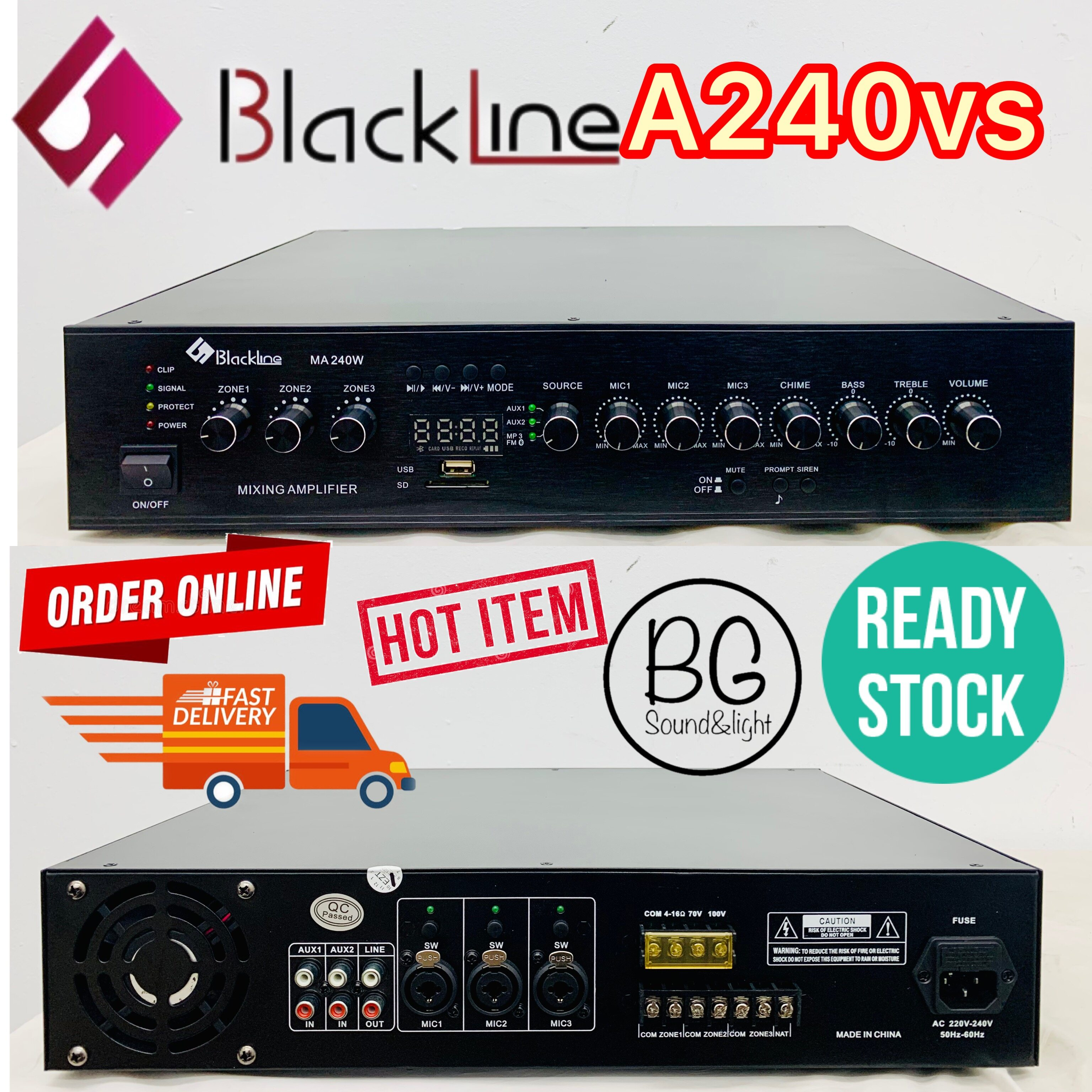 [Ready Stock]Blackline A240VS 240W Public Address PA System Mixing Amplifier With 3 Mic Input/ USB / 3 Zones With Volume