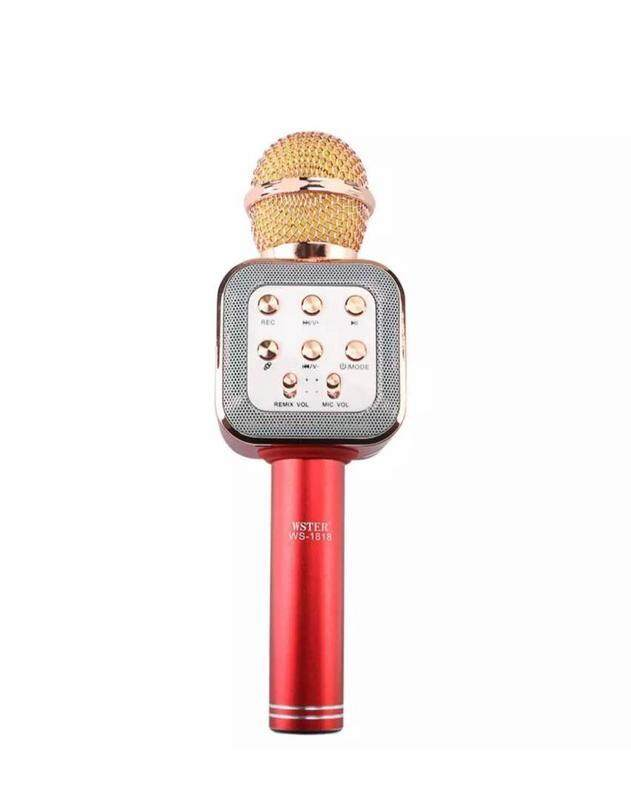 Wster WS1818 Bluetooth Hifi USB Microphone Bluetooth Wireless Microphone RED