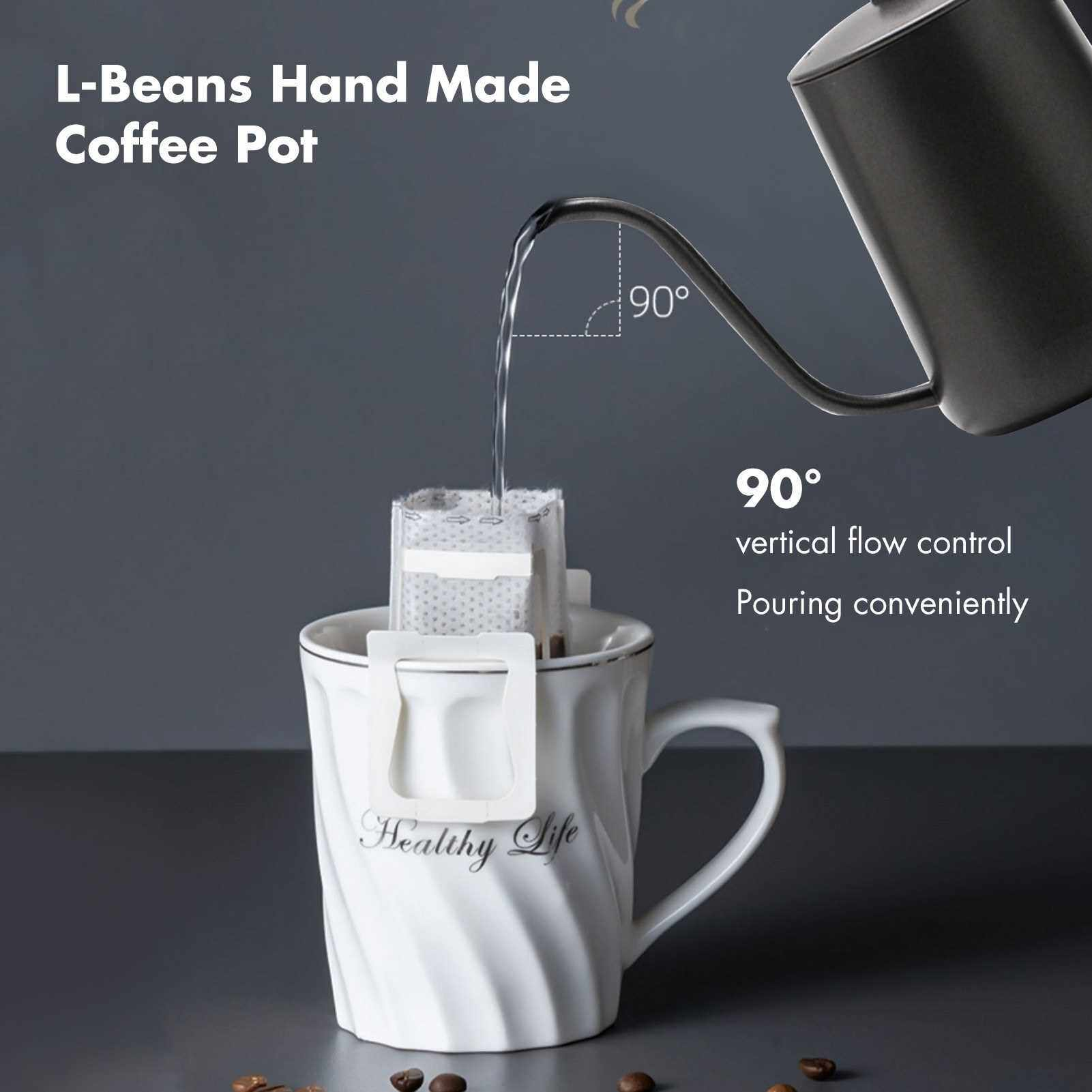 Best Selling 600ml Coffee Kettle Brew Coffee Kettle Coffee Maker Brewer Coffee Pot Stainless Steel with Handle Birthday Gift for Coffee Lover (Black)