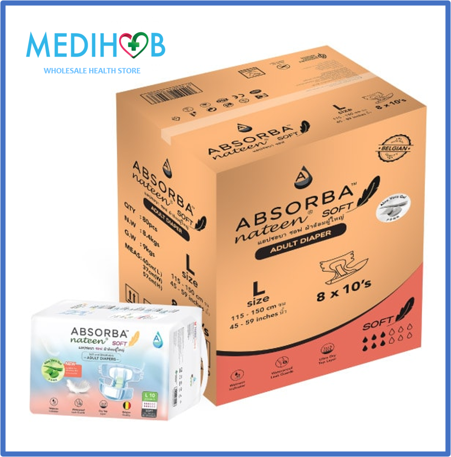 [Adult Diapers] Absorba Nateen Soft (L) 10s x 8 Bags [Super Savers Pack]