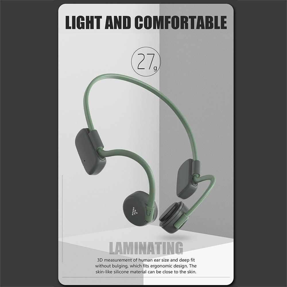 BH528 Bone Conduction Headphones Wireless Bluetooth 5.0 Earphone Outdoor Sports Headset IP56 Waterproof Hands-free with Microphone QCC3003 (Green)