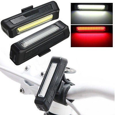 Moto Accessories - Bicycle Bike Front Rear Tail USB Rechargeable LED Light 6 Modes 100LM - RED LIGHT / WHITE LIGHT