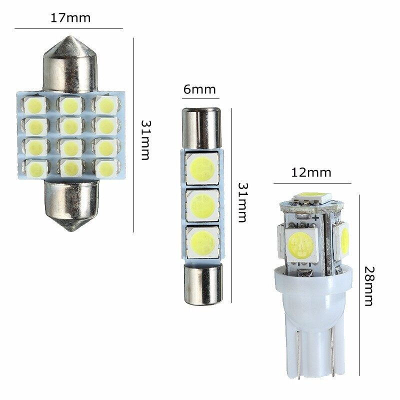 Car Lights - White LED Car Lights Interior Bulb Package Kit for Honda T10 + 31MM Festoon/Fuse - Replacement Parts