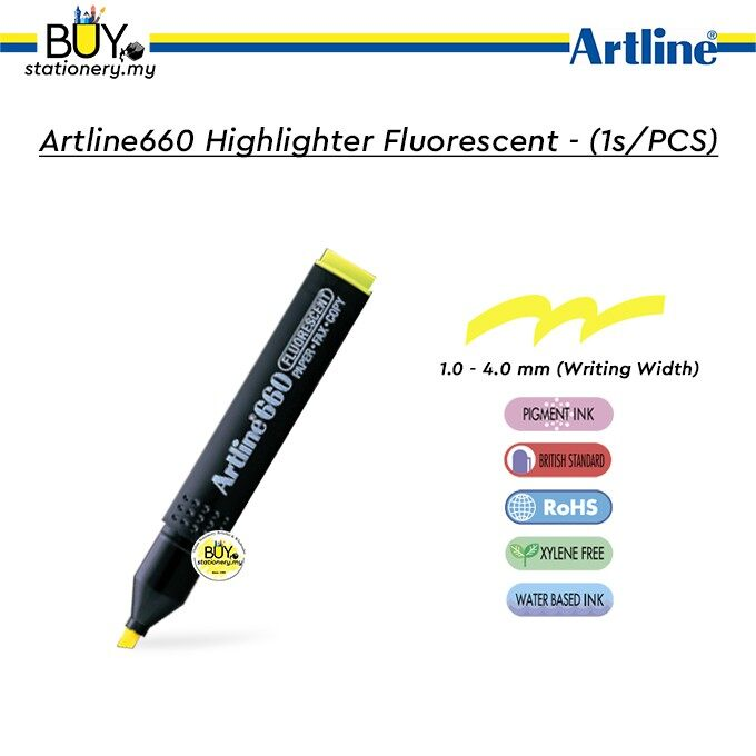 Artline 660 Highlighter Fluorescent - (1s/PCS)