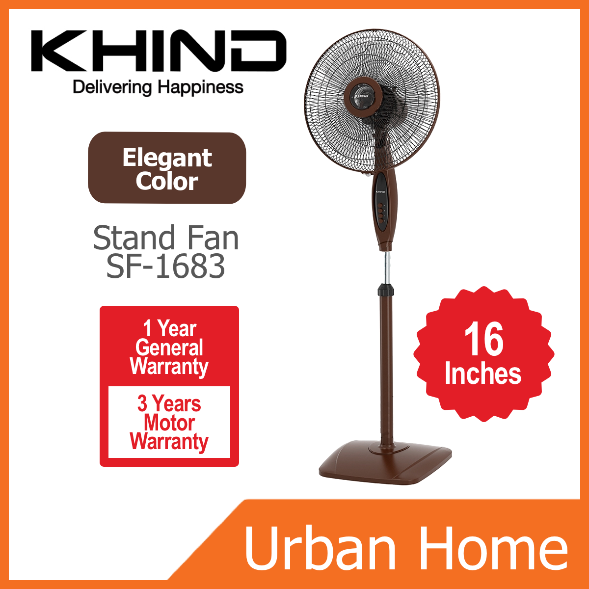 KHIND 16 Inch Elegant Design Brown Wooden Color 3 Speed Stand Fan (SF-1683/SF1683)