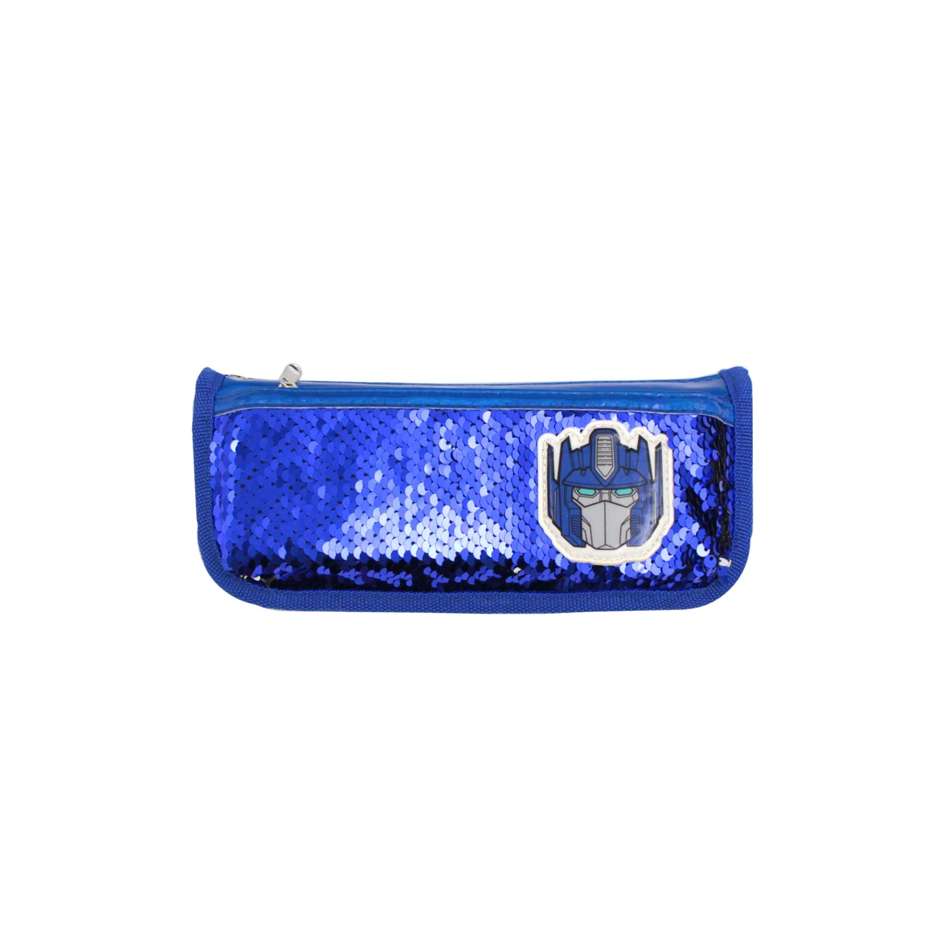 Transformers Optimus Prime Sequin Children School Stationery Double Zip With Front Compartment Pencil Case