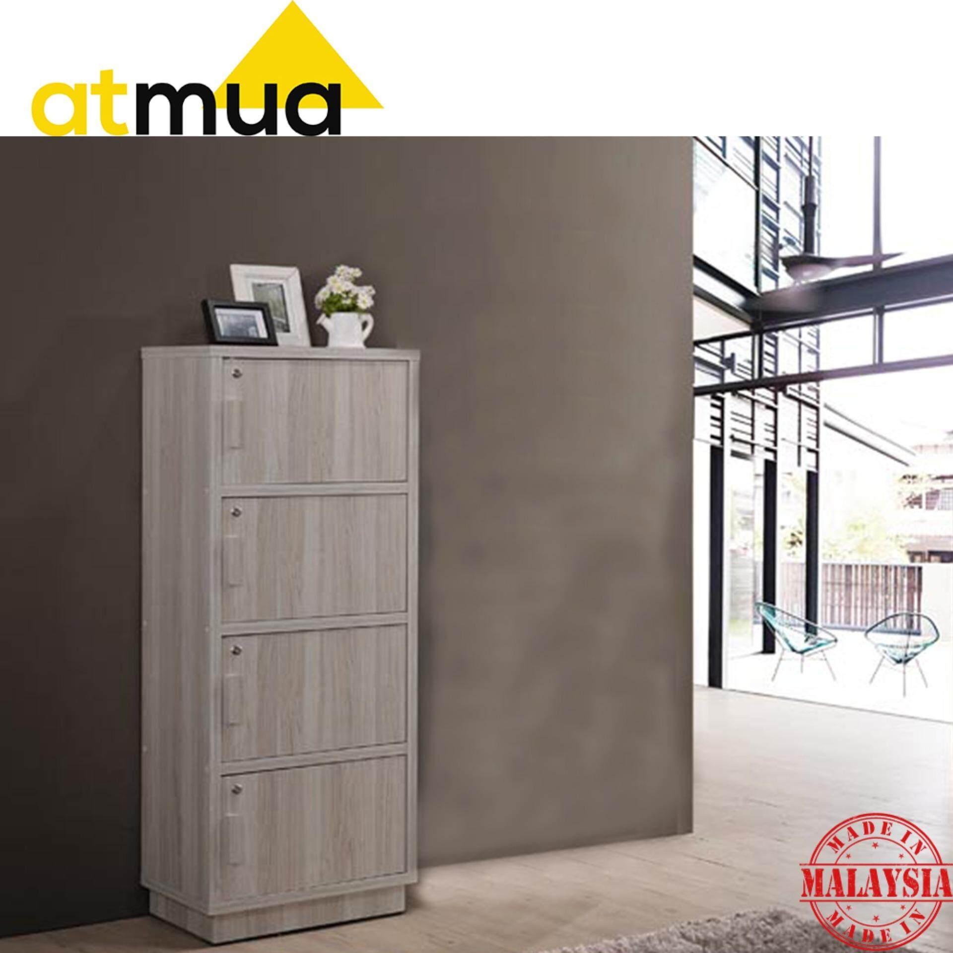 Atmua Chee Storage Cabinet with Lock - 4 Door Locker [Hollow MDF Board]