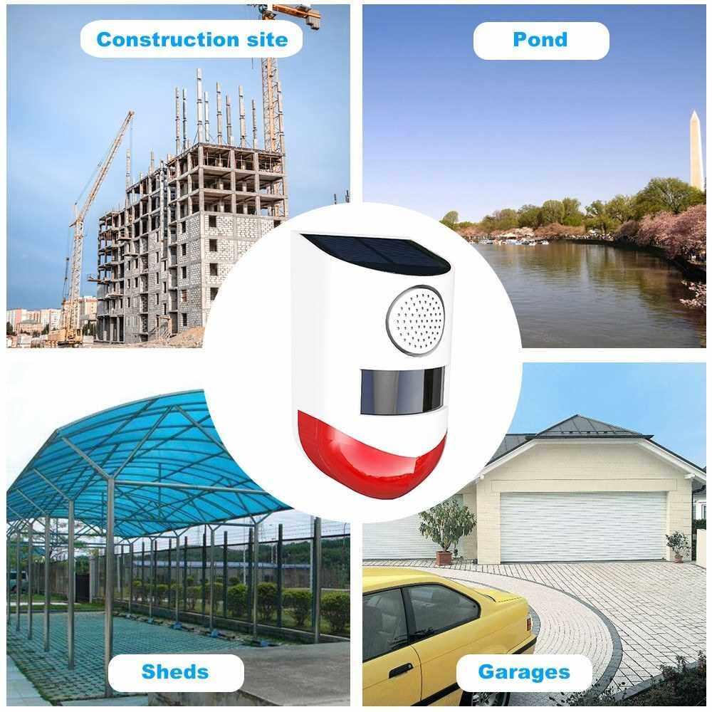 Best Selling Solar Powered Wireless 433MHz Infrared Motion Sensor Detector Strobe Siren 120dB Alarm Waterproof PIR Sensor (2)