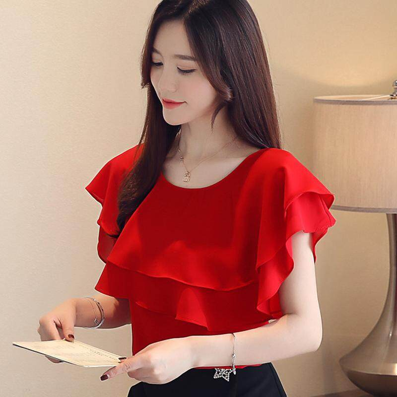 (Pre Order14 Days JYS Fashion Korean Style Women Chiffon Top Collection 526-6348Col525a-6348--Red-XL