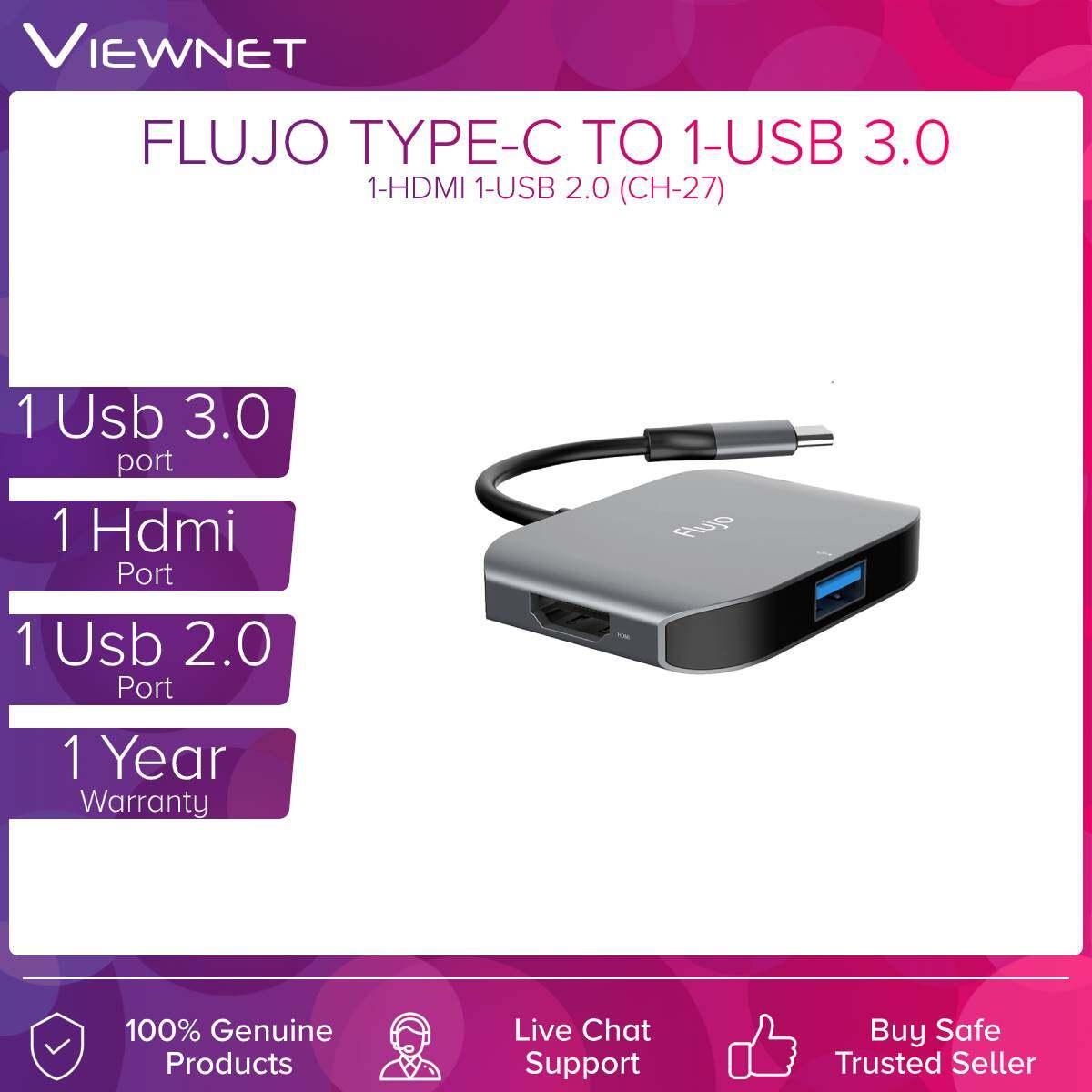 Flujo (CH-27) Type-c To Hdmi + 1-Usb3.0 + 1-Usb2.0  Adapter