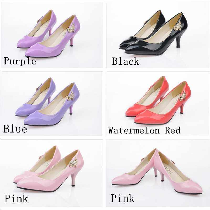 Fashion Women PU Heels Candy Color Low Cut Vamp Pointed Thin Shoes Pink (P36)