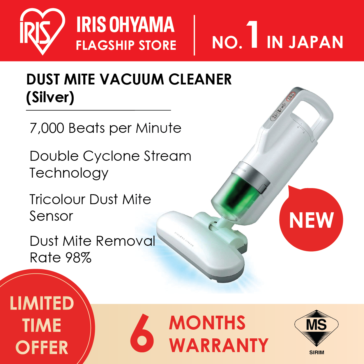 IRIS OHYAMA IC-FAC3 Handheld Dust Mites Bedsheet Vacuum Cleaner (Vibration 7,000 Times / minute) (6 Months Warranty) - SILVER Color