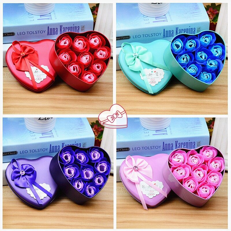 Heart-shaped Soap Rose Flower Gift Box