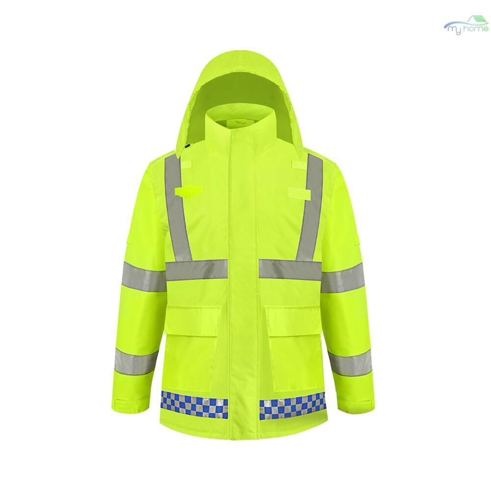 Protective Clothing & Equipment - SFVest High Visibility Reflective Rainwear Coat Luminous Safety Raincoat Outdoor Hiking Riding Men - YELLOW-XL / YELLOW-L / YELLOW-M / YELLOW-S